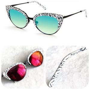 Auc Krewe Josephine red mirrored cat-eye glasses